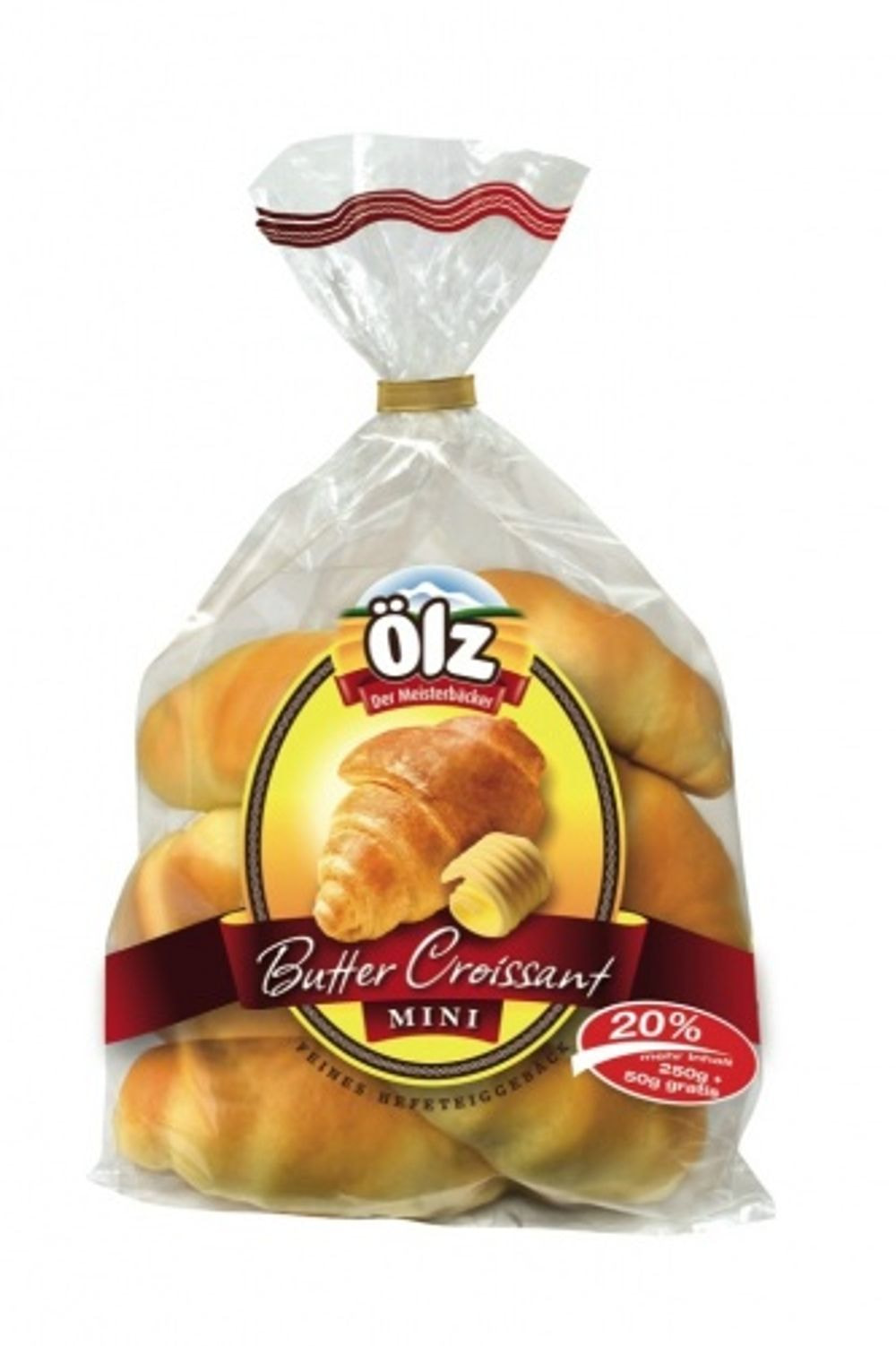 Croissants mini butter packed 250g + 50g gratis price per piece