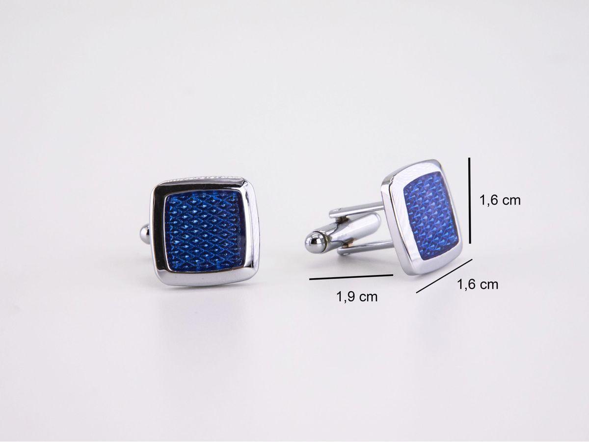 gemelli quadrati blu e acciaio lucido