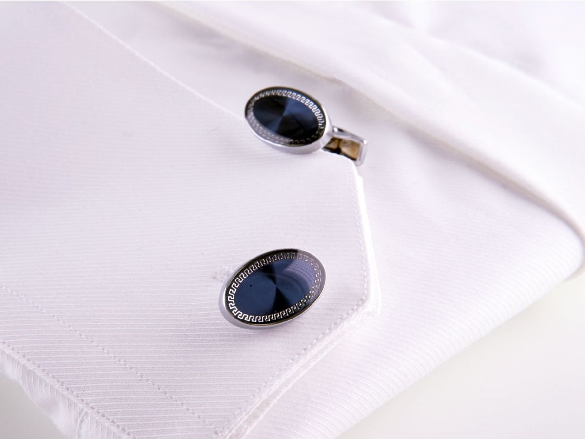 gemelli in acciaio ovali blu lavorati