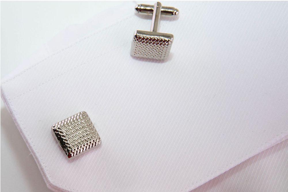 gemelli quadrati argento con spilla
