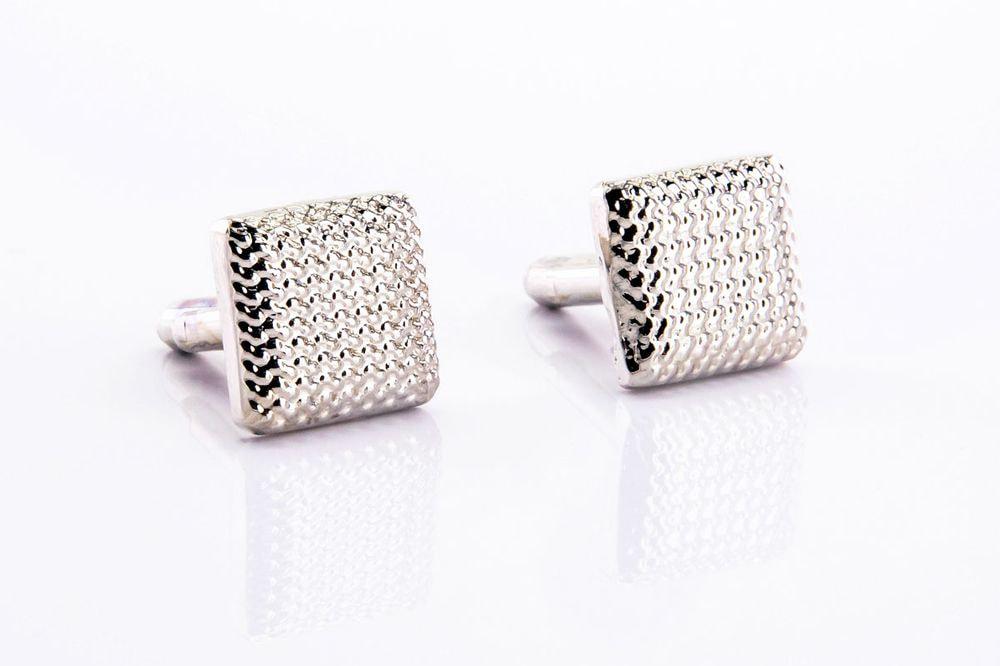 Square silver-colored cufflinks