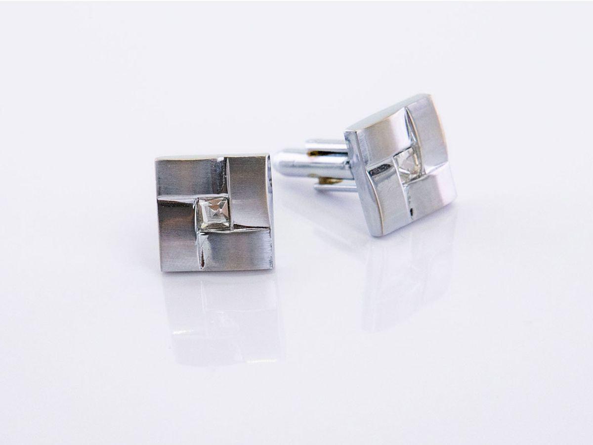 gemelli in acciaio con brillantino quadrati