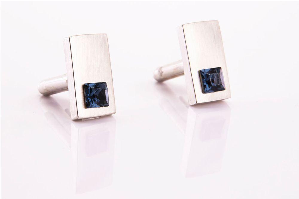 gemelli in acciaio rettangolari con brillantino blu