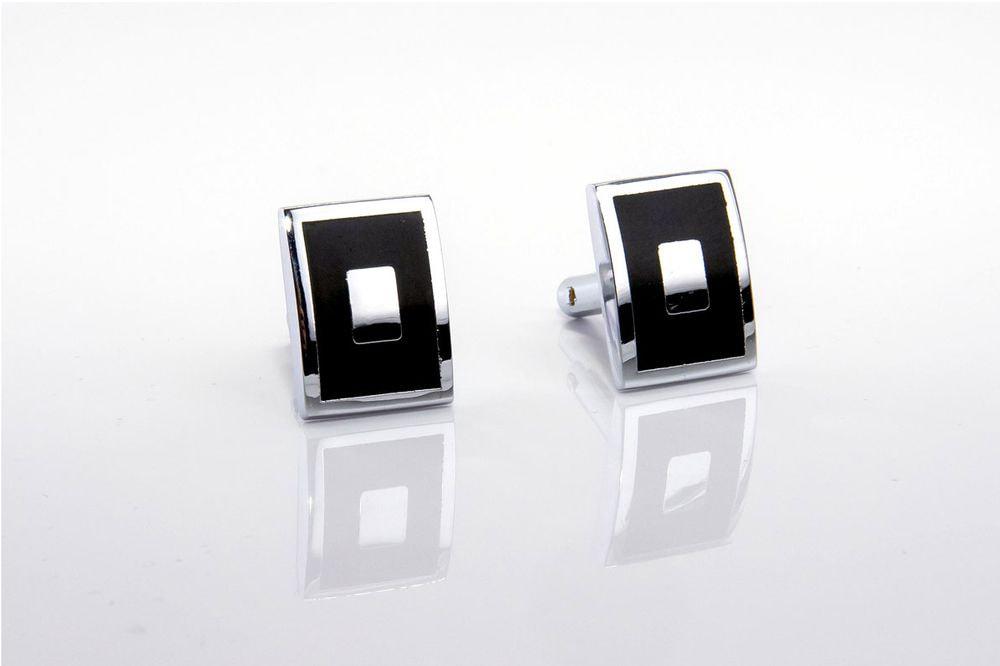 Steel and black rectangular cufflinks
