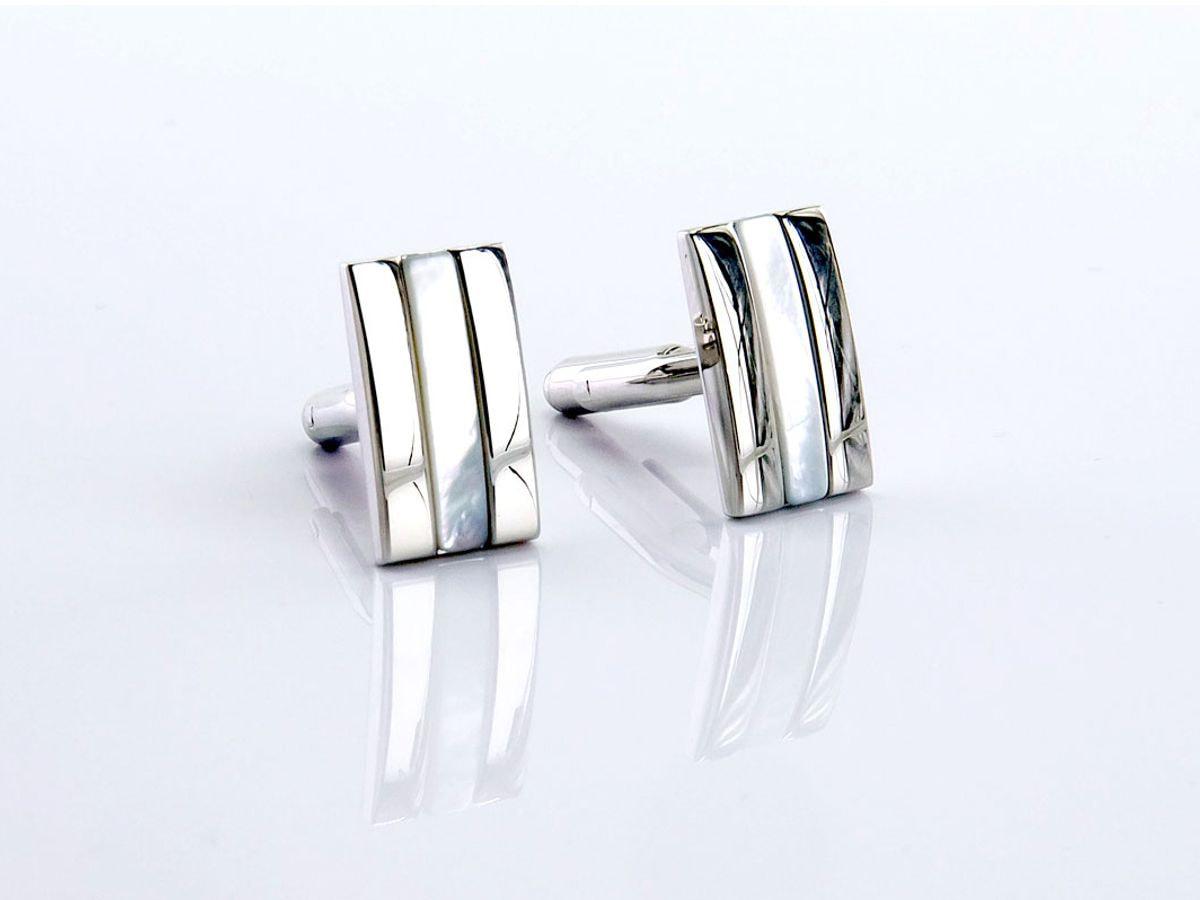 gemelli rettangolari argento e madreperla