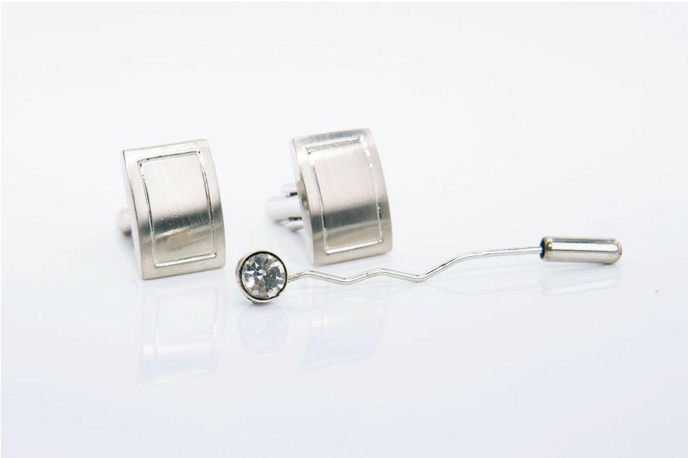 gemelli in acciaio rettangolari con spilla