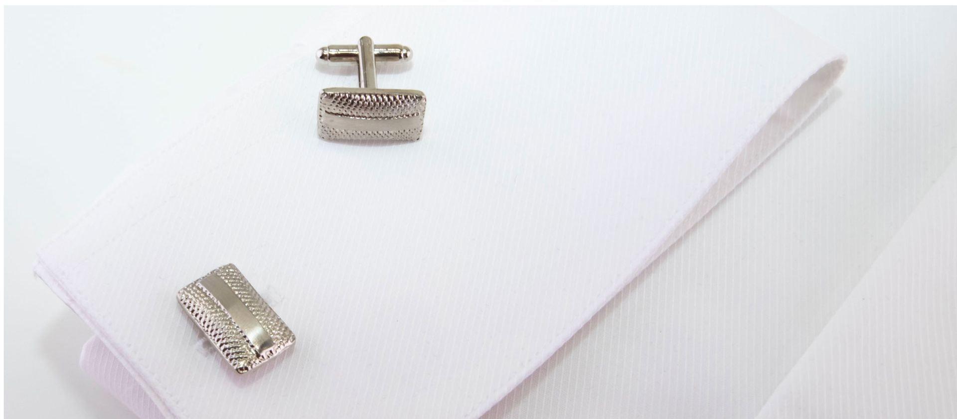 gemelli rettangolari argento con spilla