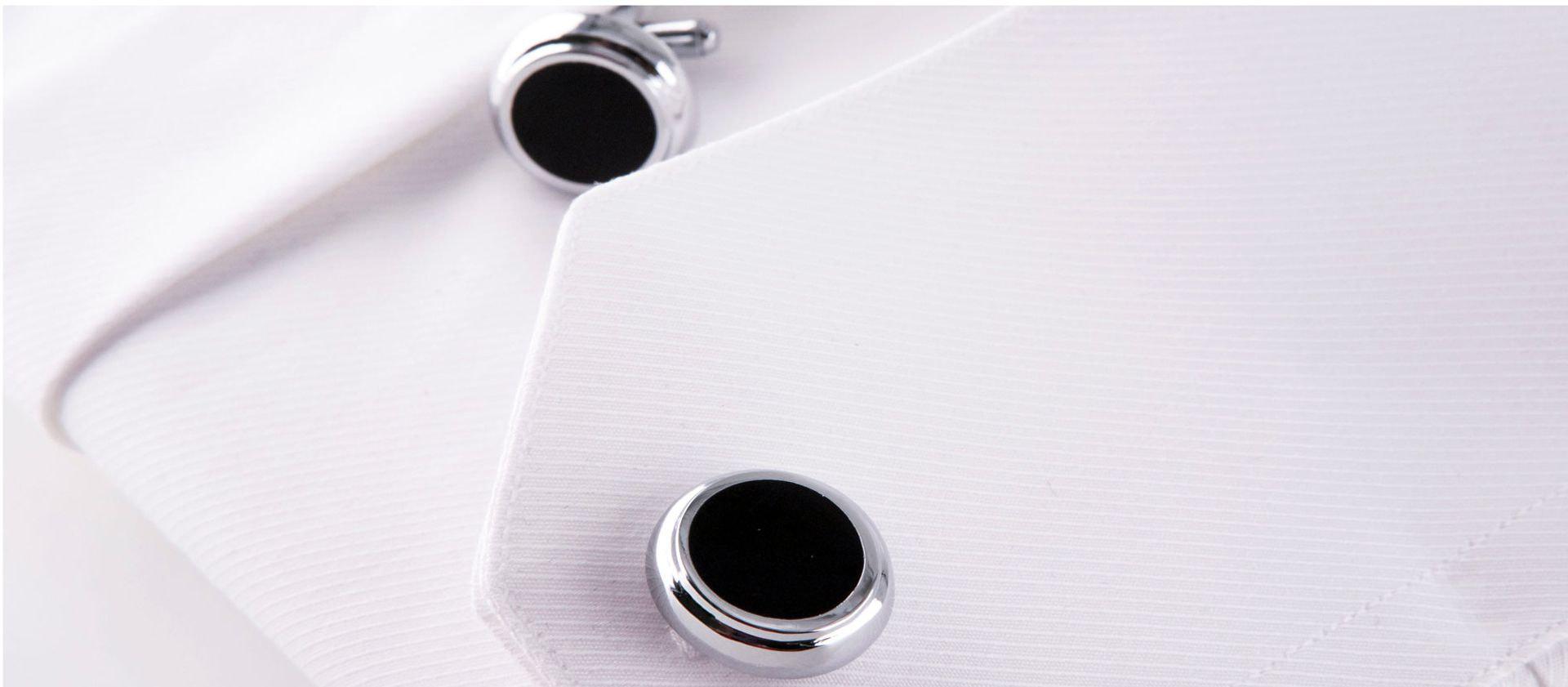 gemelli in acciaio tondi neri