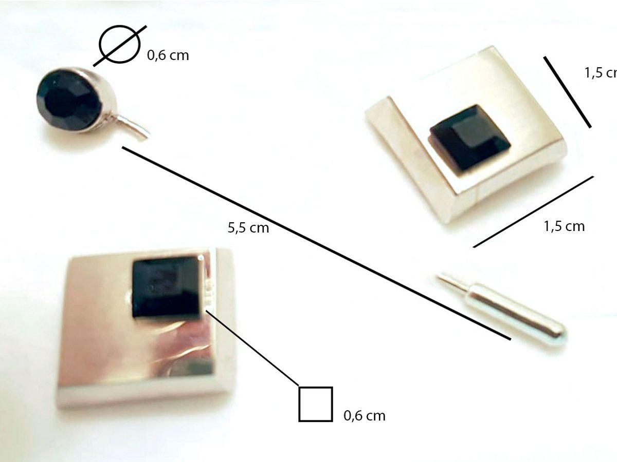 gemelli in acciaio quadrati con brillantino nero