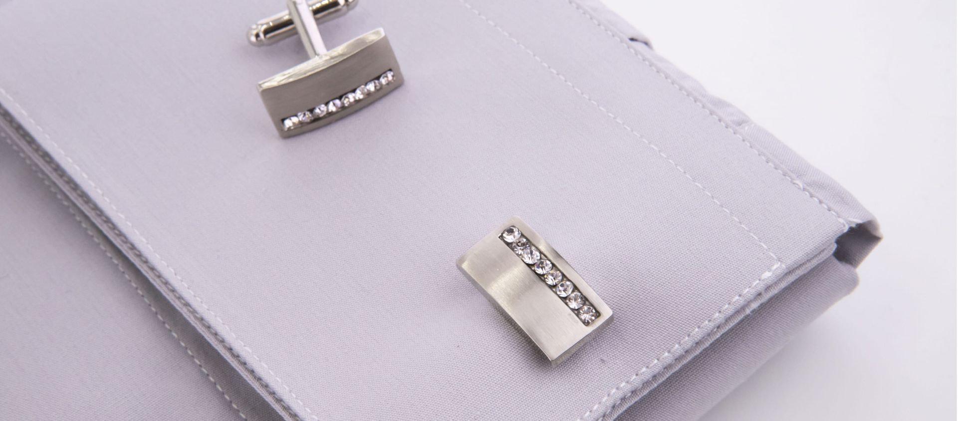 Rectangular satin cufflinks with glitter