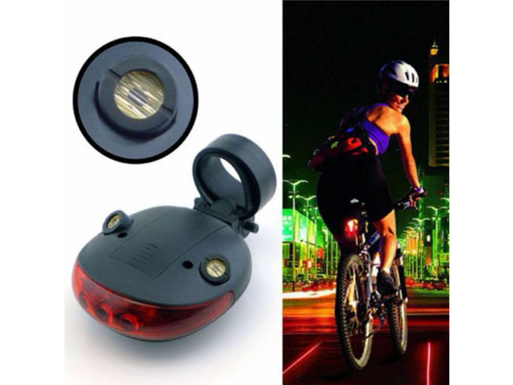 Bicycle LED Taillight Safety Warning Light 5 LED+2 Laser Night