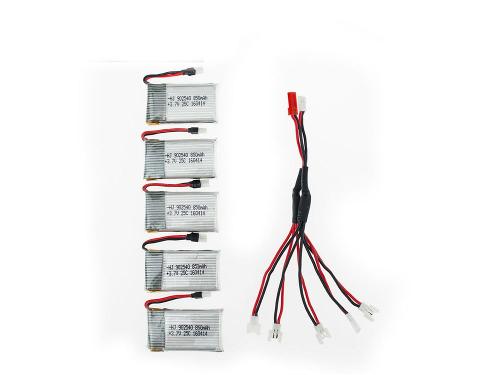 Kit 4 battery Li-Polymer 902540 3.7V 850mAh 25C Drone + USB Charger Set For RC SYMA X5C X5SC X5SW X5HC