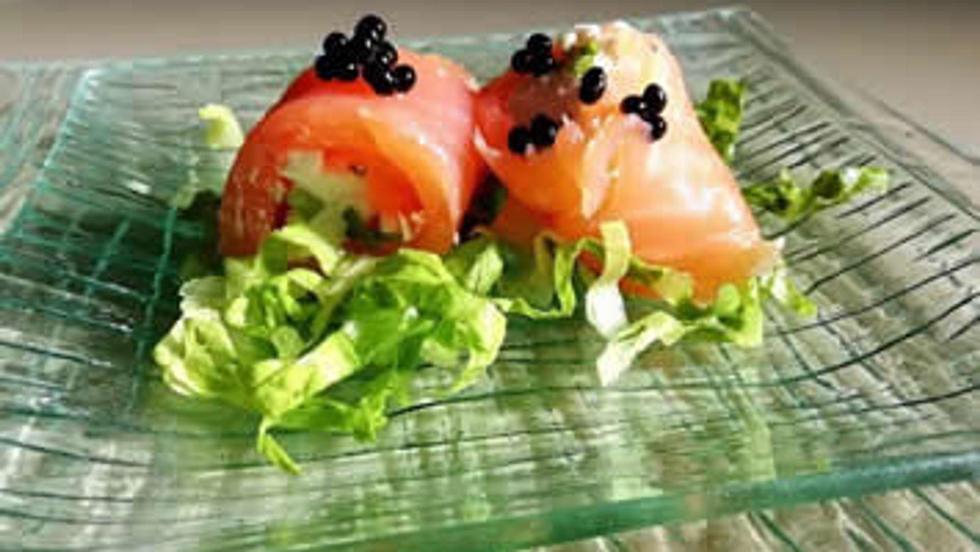 Salmone con perle di tartufo