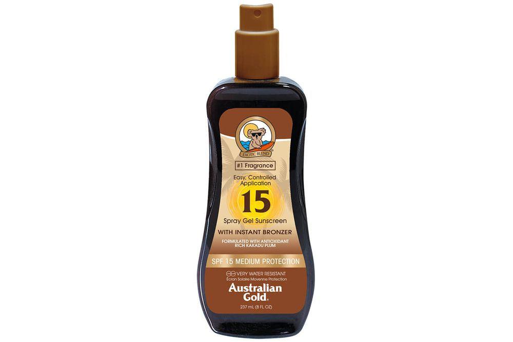 Australian Gold SPF15 Spray Gel Sunscreen BRONZER 237 ml
