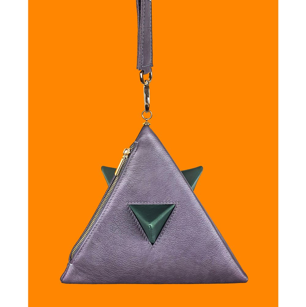 Pyramid bag purple and green