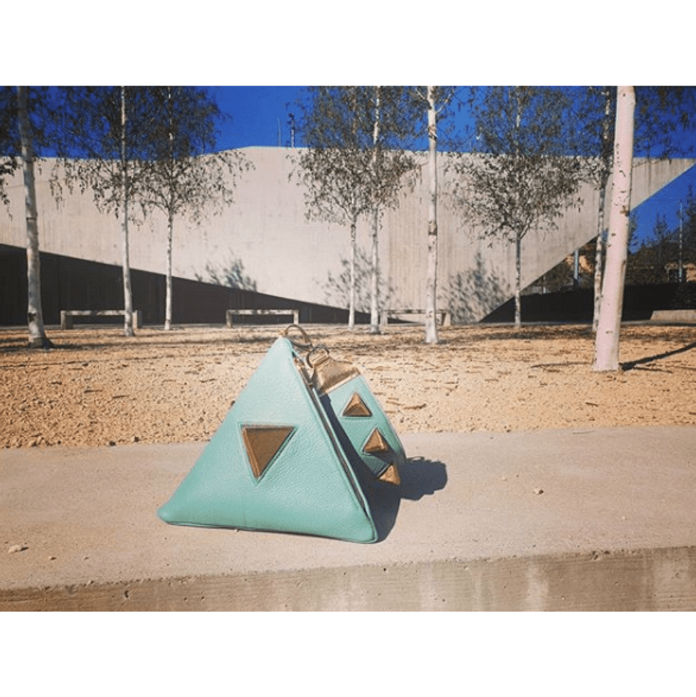 Pyramid bag, lite teal & gold