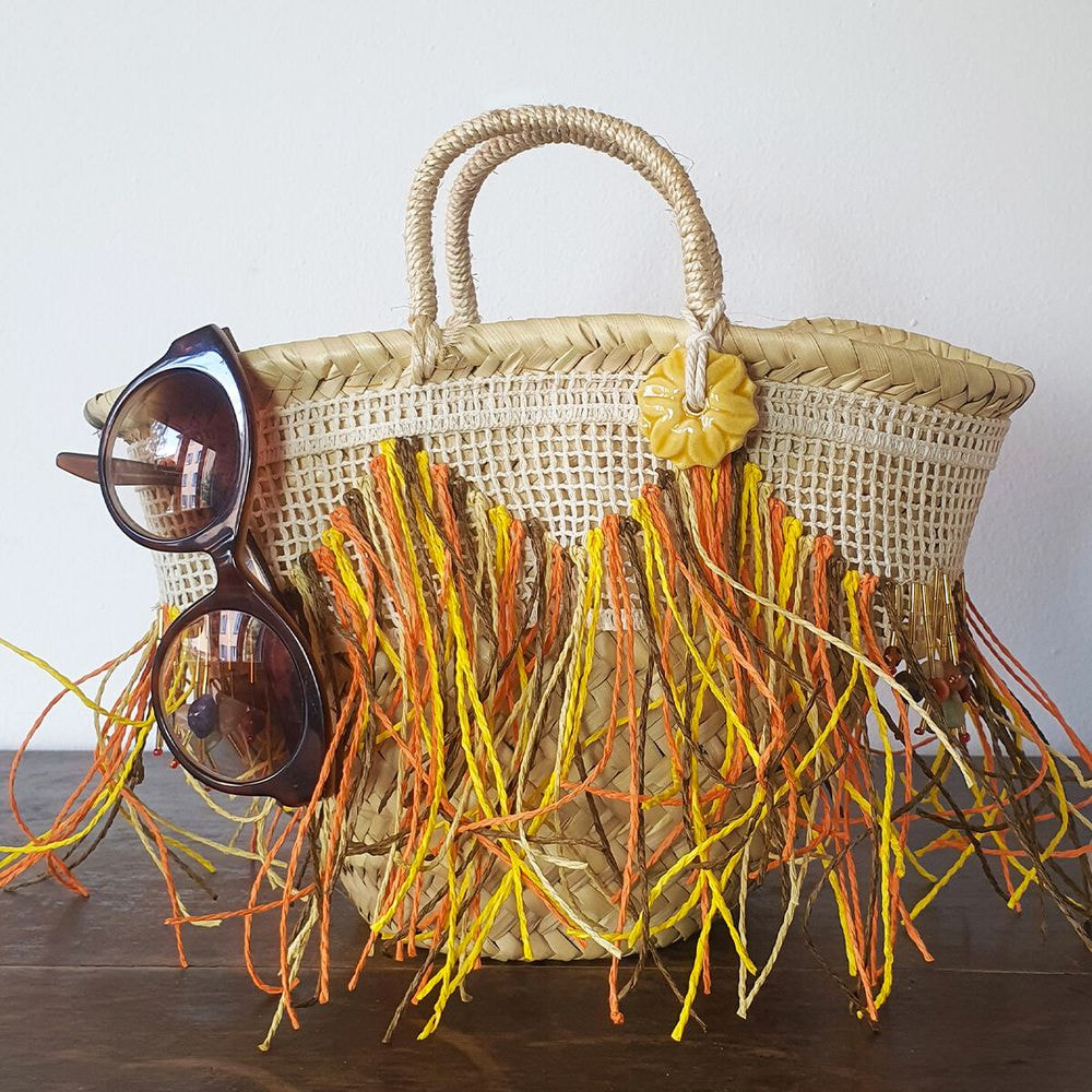 straw bag, small size, natural stone