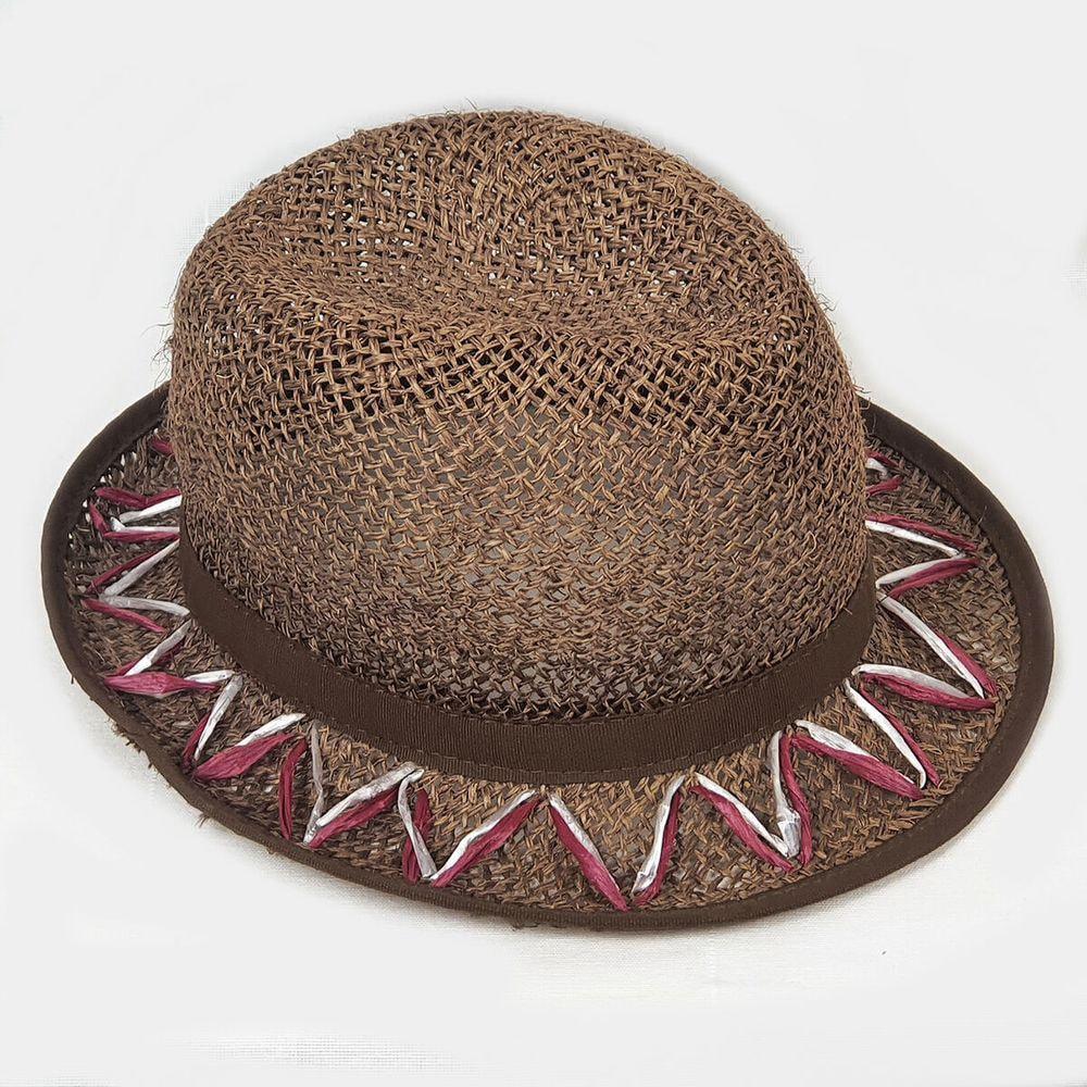 Cappello tesa stretta in fibra di carta, paglia e rafia