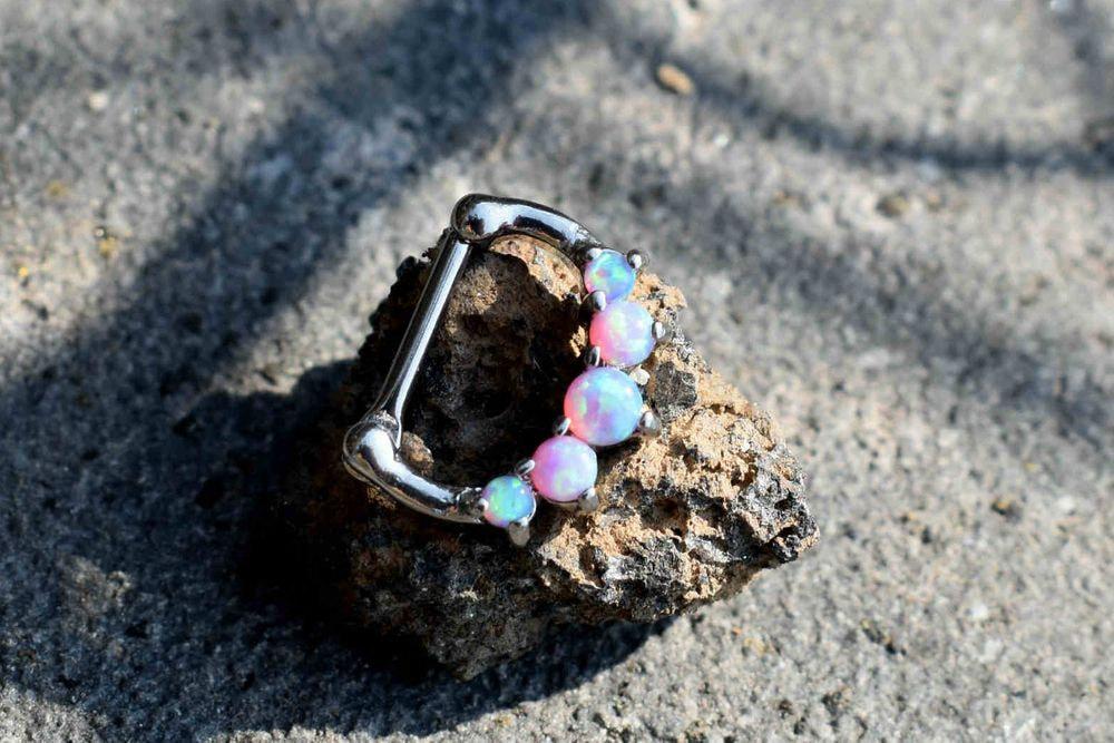 Clicker Piercing - Draco Pink Opal