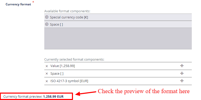 site settings currency format