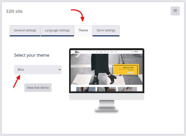 site settings theme change