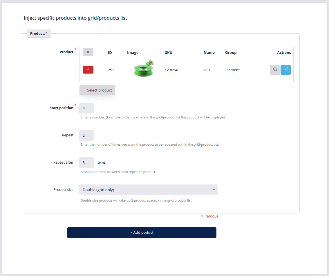 inject specific products into grid products list