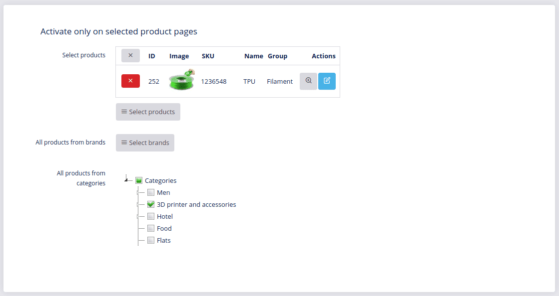 activate only on selected product pages