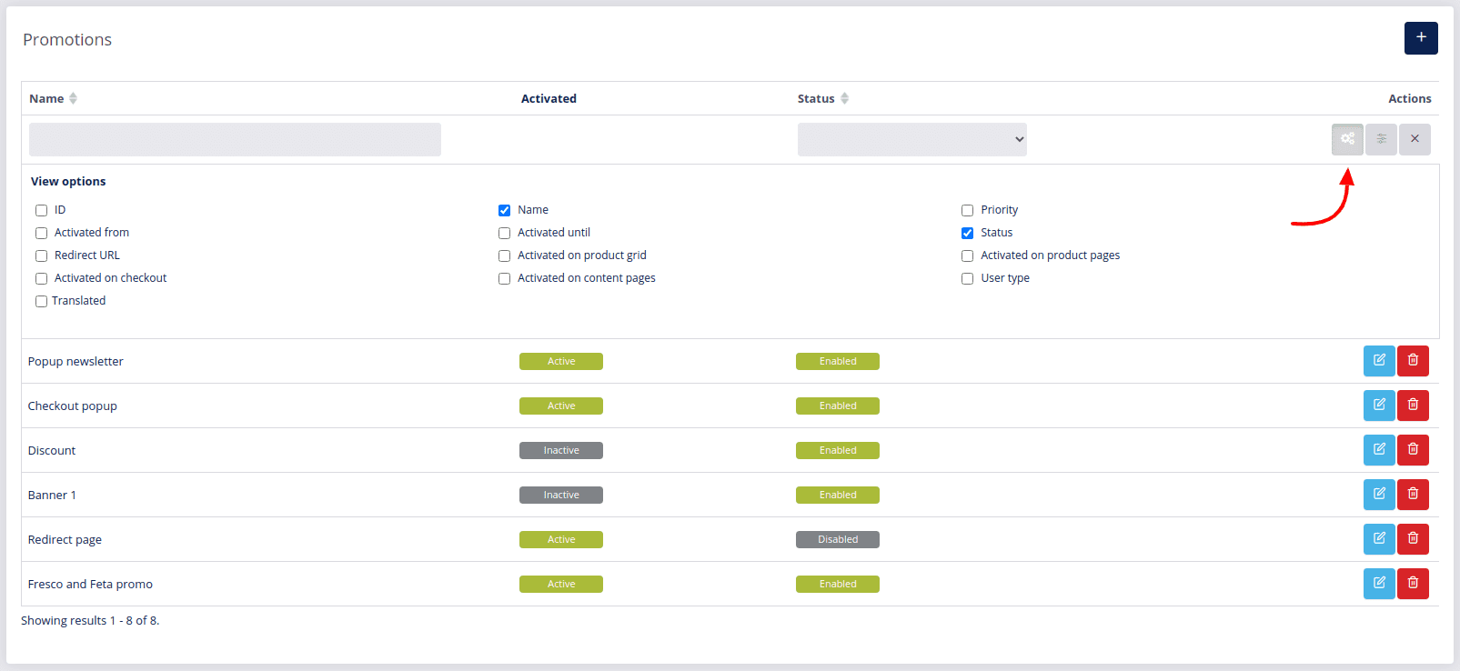 Promotion tools view options