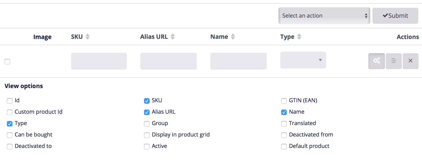 products view options