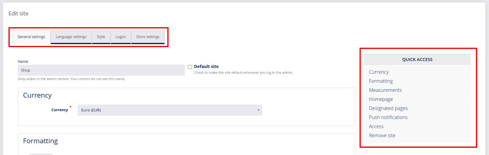 site settings