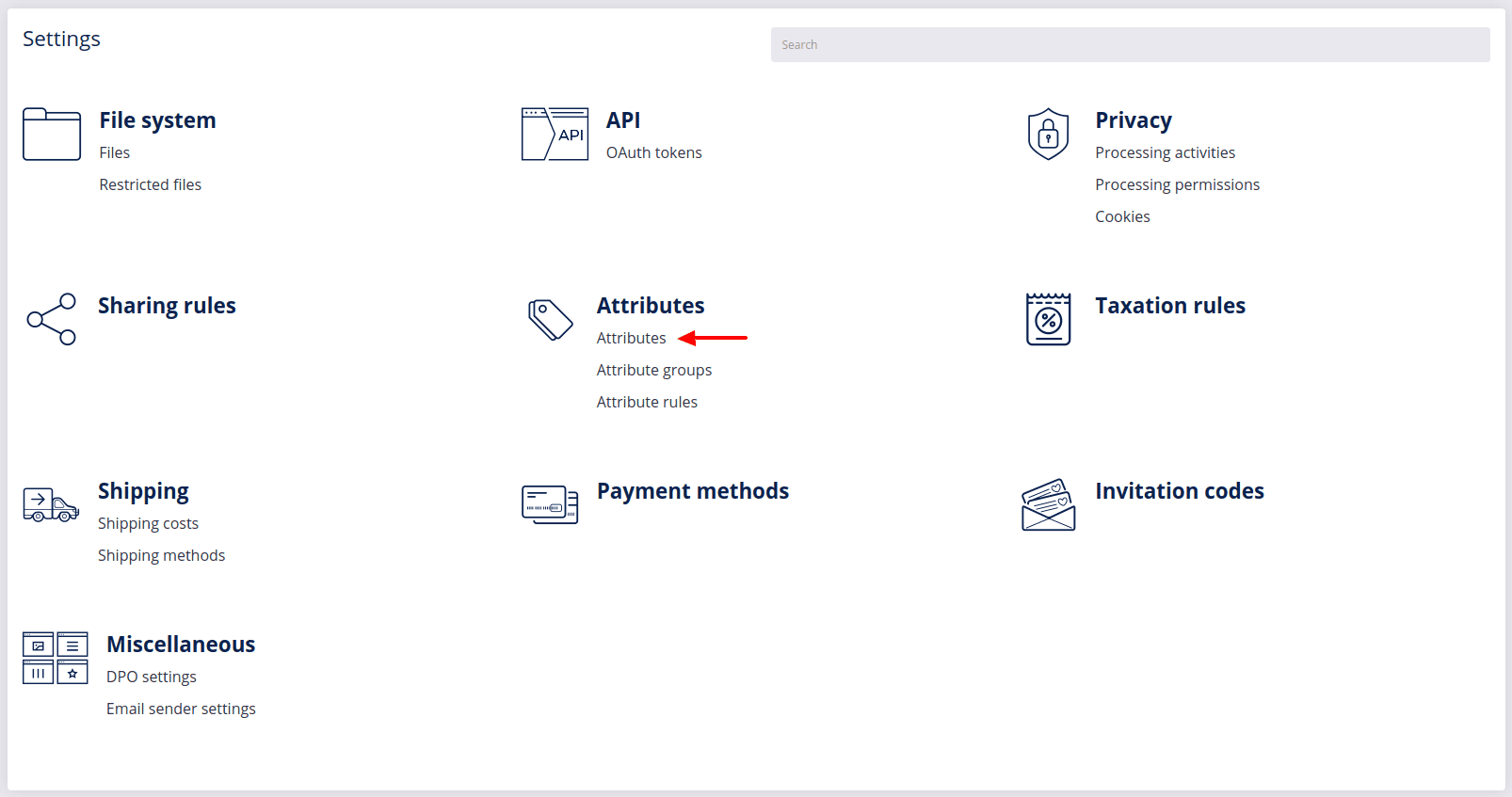 attributes settings