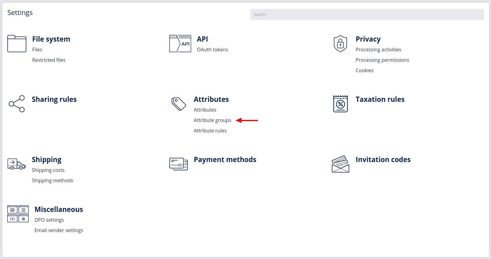 attribute groups settings