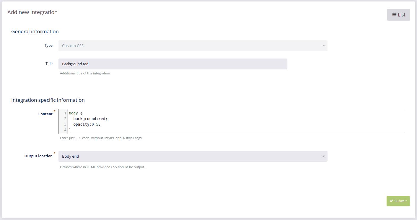 custom CSS add