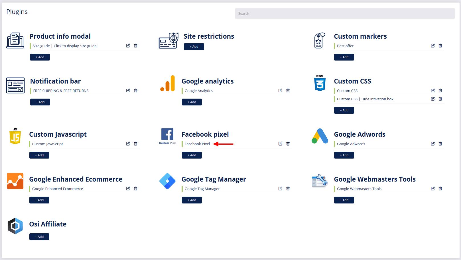 Edit Facebook pixel