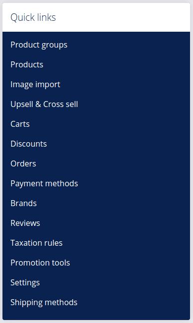 Shop dashboard quick links