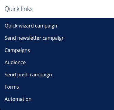Marketing dashboard quick links