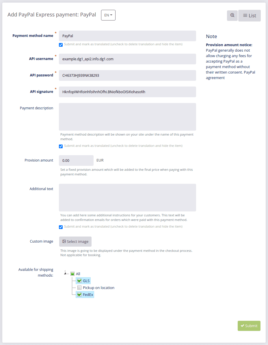 PayPal Express details