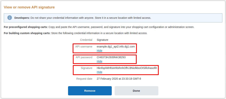 PayPal API signature