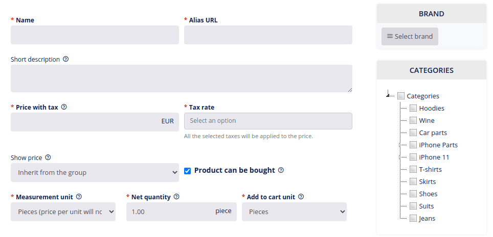 Add product general settings
