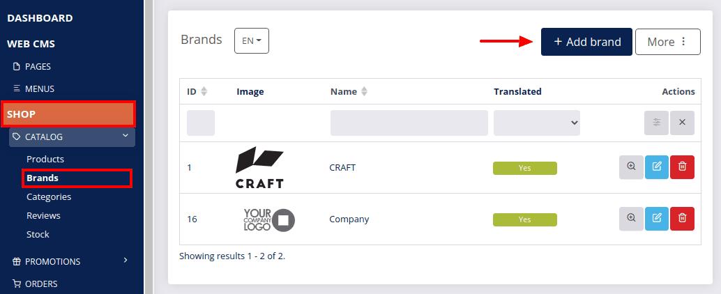 Add product brand