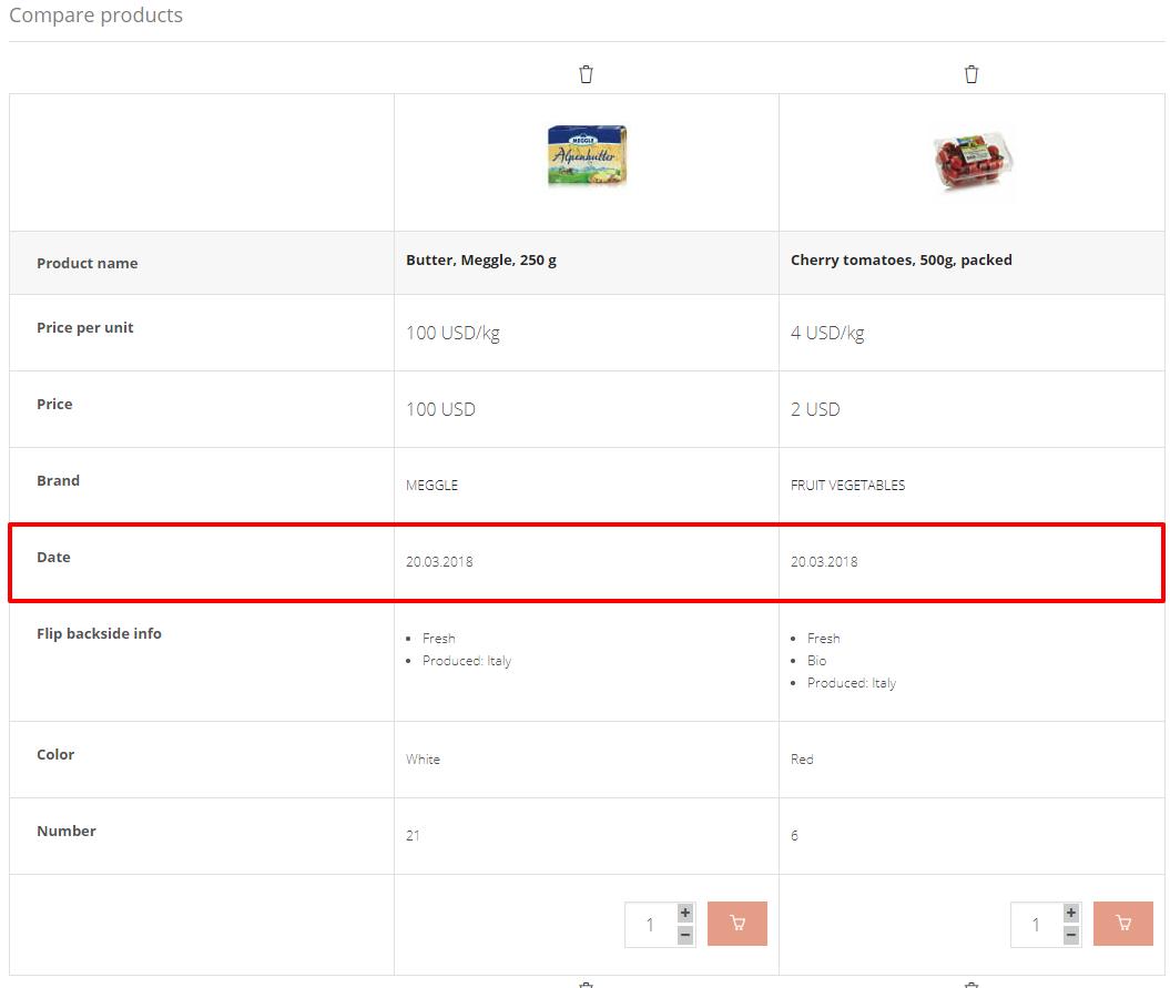 Compare products Organico