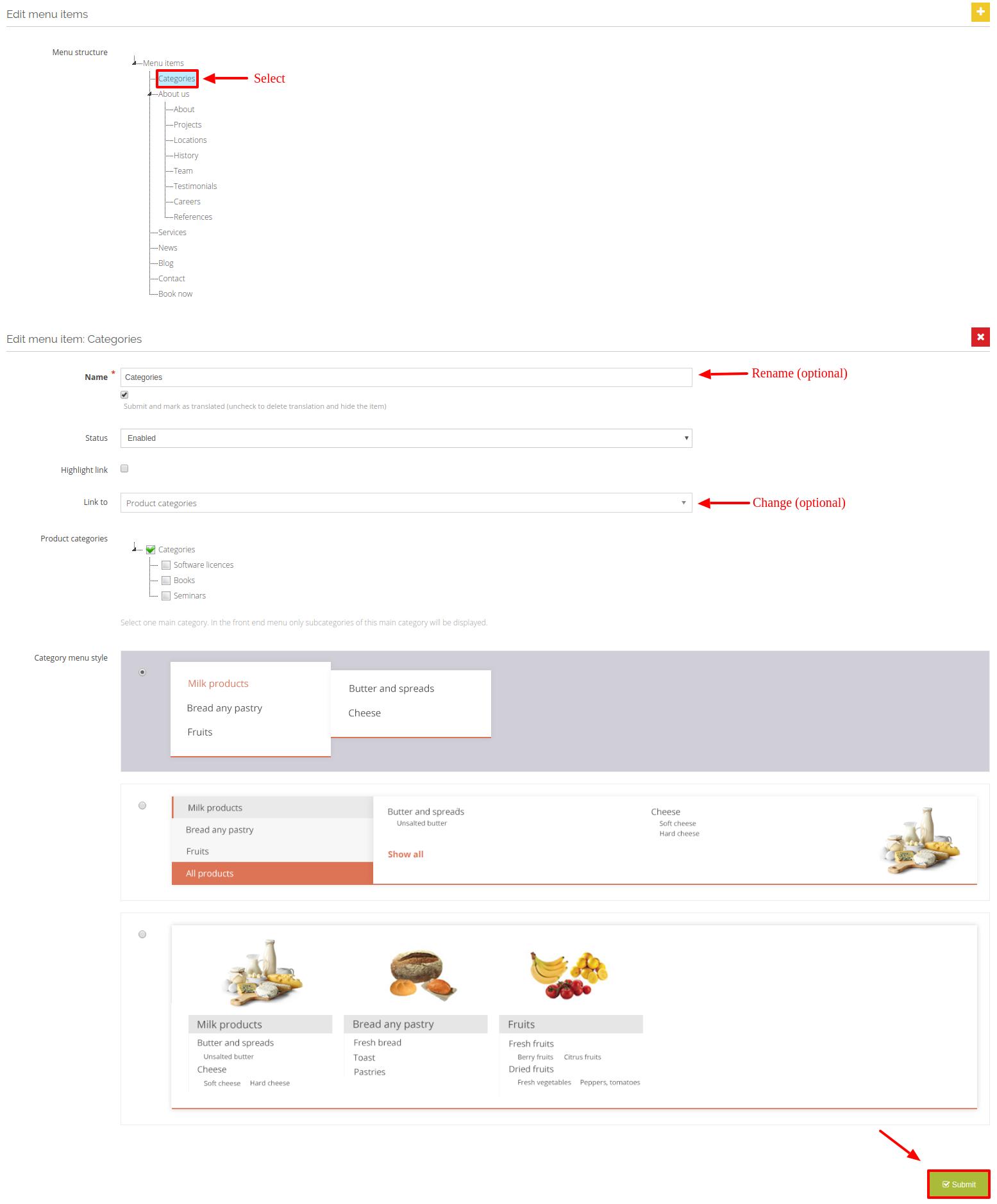edit main menu