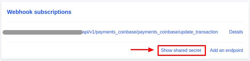 coinbaseShowSharedSecrete