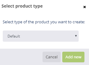 Select product type