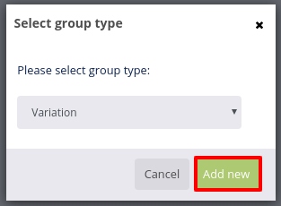 Product groups variation add