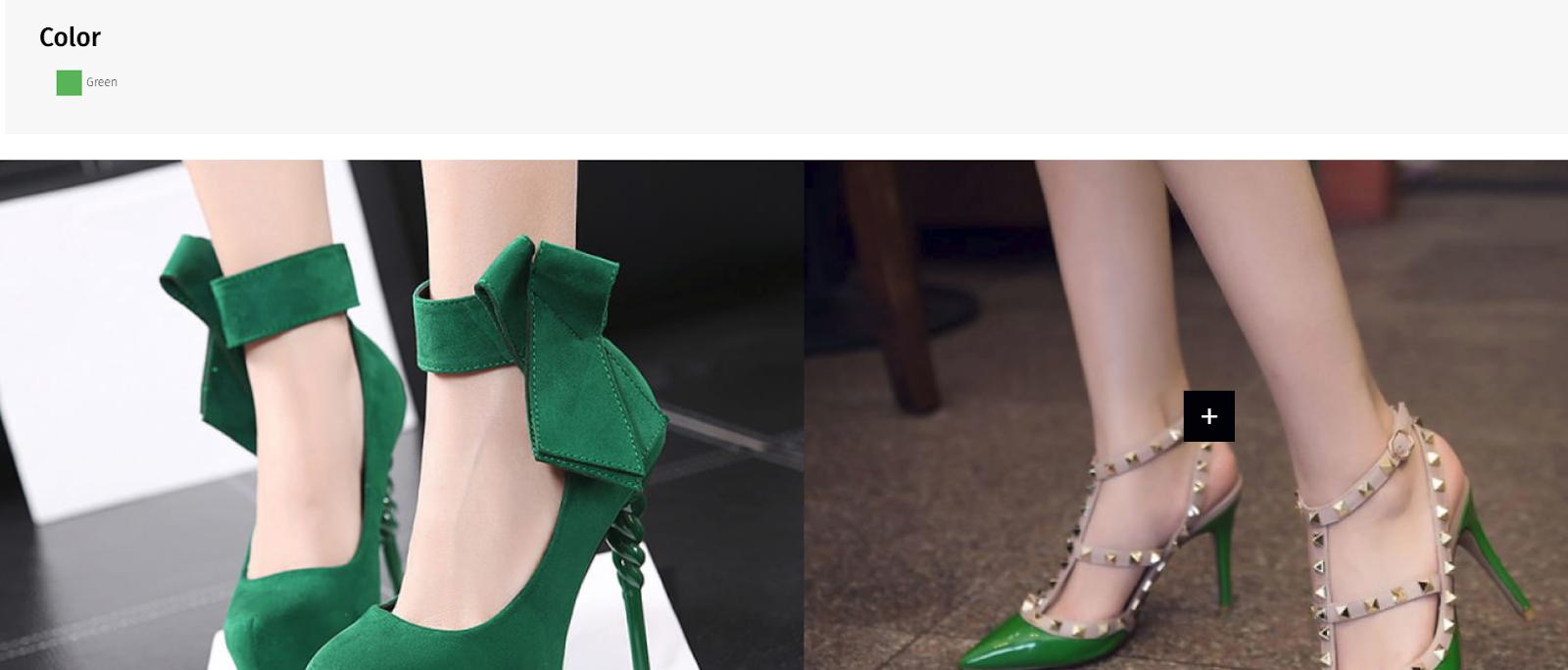 Woman green shoe